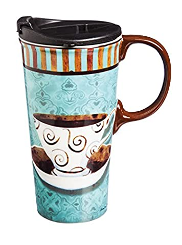 Cypress Home Ceramic Deja Brew Travel Coffee Mug, 17 ounces