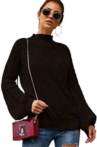 Nimpansa Damen Sweater Pullover Turtleneck Puff Ärmel Stricken Tops Casual Schwarz M -