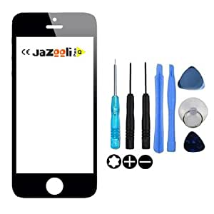 Jazooli Replacement Black Front Outer Glass Screen Lens For Apple iPhone 5 5G 5S - Tools Included