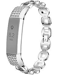 Bracelet pour Fitbit Alta et Fitbit Alta HR, Satkago Bracelet en Acier Inoxydable Remplacment Bandes Réglable avec Métal Fermoir pour Fitbit Alta et Fitbit Alta HR, Argent, Or Rose