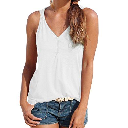 ❤️ Chaleco sin Tirantes,Verano de Las Mujeres Camisa sin Mangas Superior de la Blusa Camisetas sin Mangas Casuales Absolute (L, Blanco)