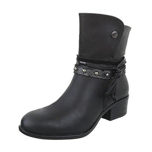 Scarpe da donna Stivali tacco a blocco Western Stivaletti Ital-Design Nero