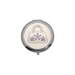 MADAM Silver tone Pink Crystal Handbag Double Mirror Compact