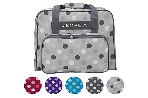 SEMPLIX Nähmaschinentasche Polka Dots stein/grau, 45x34x24 | stabile Transport und Aufbewahrungs Tasche in vielen frischen Farben, für alle gängigen Haushaltsnähmaschinen (Taschen Dot Grau)