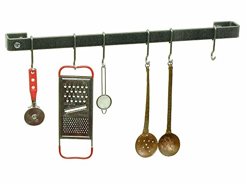Enclume Premier 18-Inch Utensil Bar Wall Pot Rack, Hammered Steel -