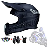 Dirt Bike Helmets, Adult ATV Motocross MX Downhill Off-Road MTB Mountain Bike Helmet DOT Approved with Gloves Goggles Mask for Adults And Teenagers,Mattblack,L59~60cm