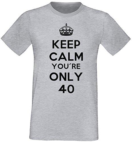 Keep Calm You're Only 40 Uomo T-shirt Grigio Cotone Girocollo Maniche Corte Grey Men's T-shirt
