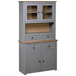 Tidyard Küchenschrank Highboard Schrank 93 x 40,5 x 180 cm Mit offenem Fach, 4 Schubladen, 2 Türen und 2 Glastüren…
