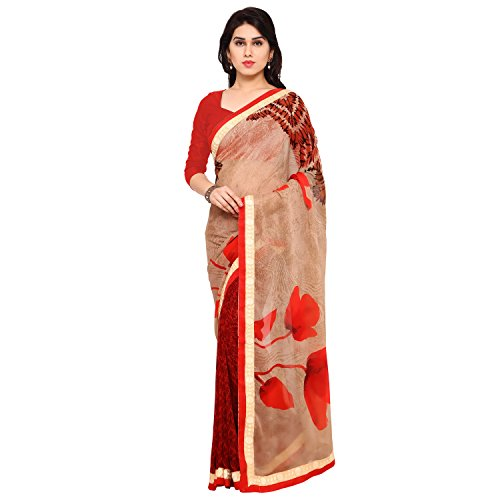 Florence Beige & Red Chiffon Embroidered Saree with Blouse  available at amazon for Rs.784
