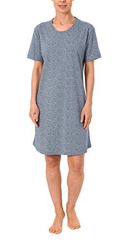 Damen Bigshirt kurzarm Nachthemd mit Minimalprint - 171 213 90 904 Blaumelange