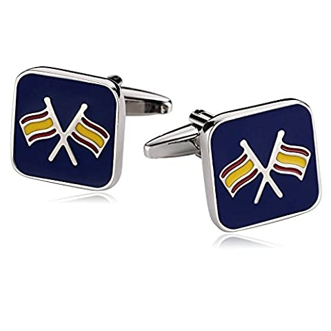 AMDXD Jewelry Stainless Steel Cufflinks for Men Square Flag Blue Cuff Links 1.6X1.6CM