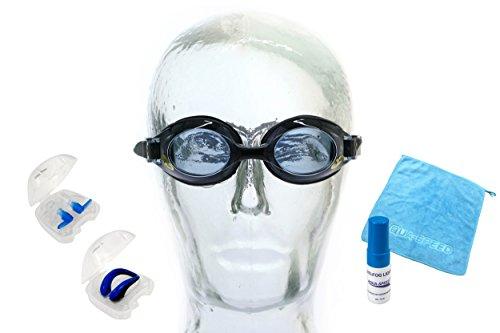 Aqua Speed Lumina Schwimmbrille mit Sehstärke/Dioptrien: linkes & rechtes Glas individuell wählbar + Anti-Fog Fluid + Nasenclip + Ohrstöpsel schwarz/getönt
