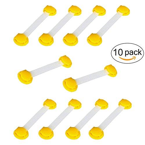 Kinder Safey Locks - Multi-Purpose-Baby Proof & Kinder Sicherheitsschloss, keine Werkzeuge oder Bohren, Super Strong 3M Adhesive Gehäuseschloss (10 Stück, Gelb)