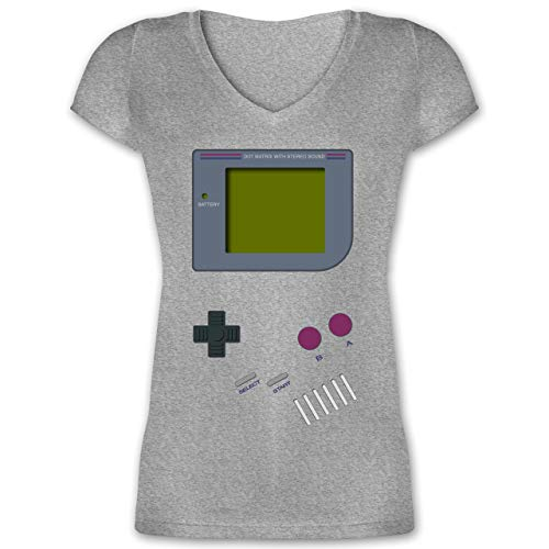 Nerds & Geeks - Gameboy - XXL - Grau meliert - XO1525 - Damen T-Shirt mit V-Ausschnitt (Geek Nerd Kostüm)