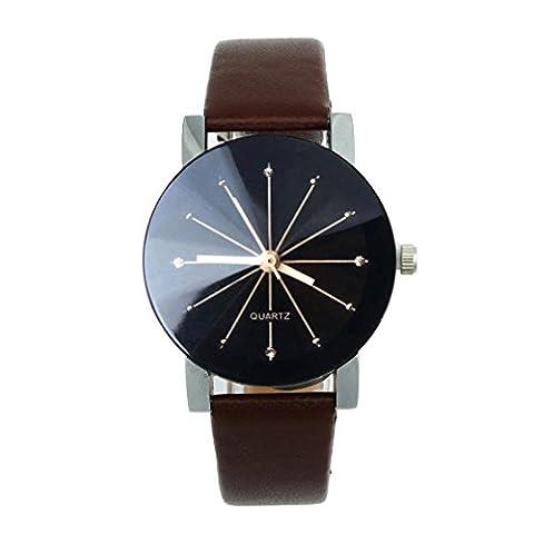 OverDose Women Convex Quartz Dial Clock Leather Wrist Watch Round