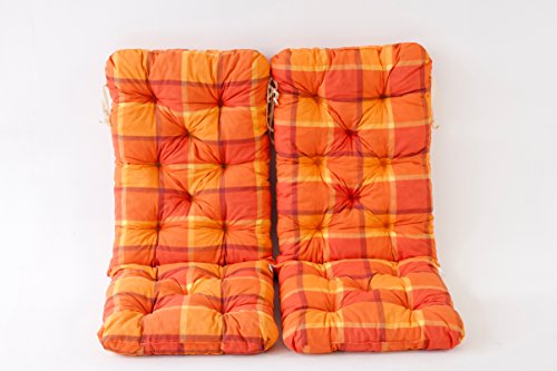 Ambientehome 2er Set Hochlehner Auflage Kissen Hanko Maxi, kariert orange, ca 120 x 50 x 8 cm, Rückenteil ca 70 cm, Polsterauflage