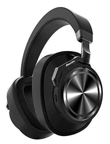 Bluedio T6 (Turbine) Cuffie Bluetooth Cancellazione Attiva del Rumore, Over Ear Wireless Stereo con Microfono Cuffie Auricolari,25 Ore di Riproduzione per il Cellulare, Regalo di Natale,Nero