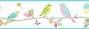 Fine Decor Frise de papier peint avec oiseaux Hoopla Bleu