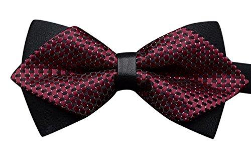 Panegy - Homme Accessoire Cravate Nœud Papillon à Rayure - Double Couche - Décoration pour Soirée Mariage Cérémonie Fête Taille Réglable 12*6cm - 27 Couleurs Disponible Bordeaux#2