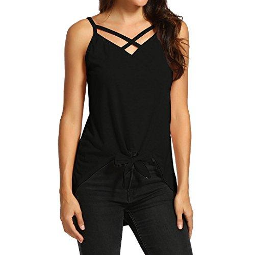 iYmitz DamenCasual Cross Kragen ärmellose Bluse unregelmäßige Top Shirt T-Shirt Tank Tops -