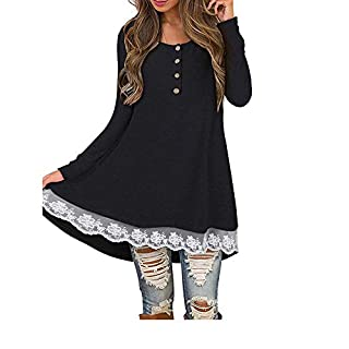 SuperSU Frauen Herbst Casual Langarm Knopf Solid Lace T-shirt Bluse Tops Spitzen T-Shirt Oberteil Herbst Elegante Streifen Lange Ärmel O-Neck unregelmäßige lose Langarm Kurzarm Longstrickjacke