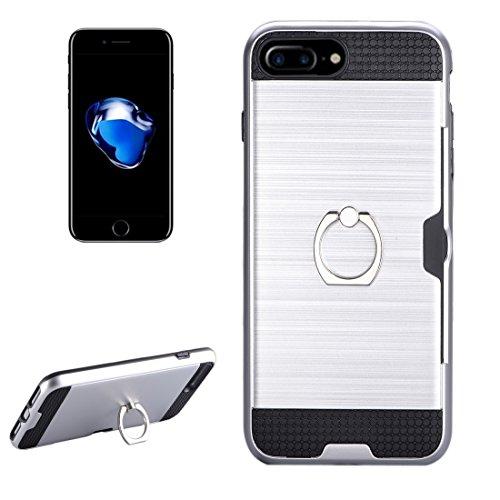 Wkae Texture Metall Schutzmaßnahmen zurück Fall mit Ring Halter Stand & Card Slot für iPhone 7 Plus ( Color : Pink ) Silver