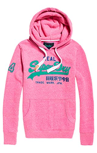 Superdry Damen Vintage Logo Glitter Crack Ent Pullunder, Fluro Pink Snowy As1, Small (Herstellergröße: 10)