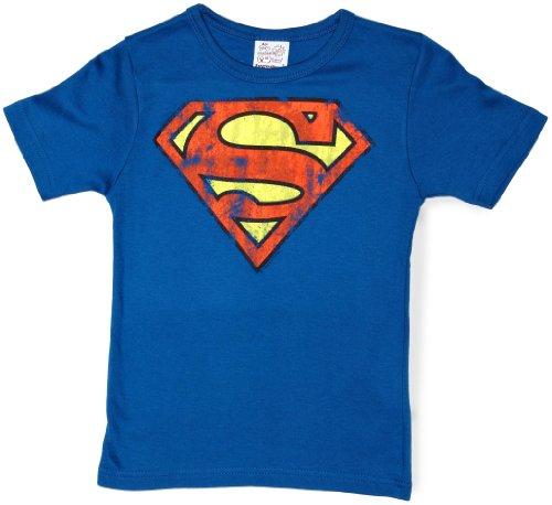 Logoshirt Jungen T-Shirt  Superman logo,Gr. 7-8 Jahre, Blau (Azure Bleu) (Batman-artikel Für Kinder)