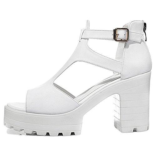 Xing Lin Sandales Pour Dames Tide High-Heeled Shoes Sandales Épaisses Et Minces Avec Mme Summer Nouvelle Plate-Forme Imperméable À La Fin YS3091 white