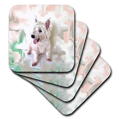 Hunde West Highland Terrier–Westie–Untersetzer, Gummi, set-of-4-Soft