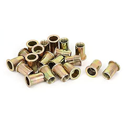 sourcingmap® M10x21mm Ribbed Body Flat Head Blind Rivet Nuts Inserts
