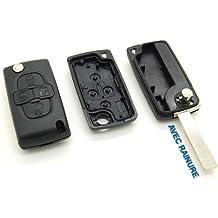 Carcasa de llave con telemando, 4 botones, para Peugeot 807, 1007, con ranura.