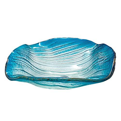 Gehärtetes Glas Waschbecken - Waschbecken Im Bad Mit Wasserhahn, Handgemachte Künstlerische Waschbecken Aus Glas, Blaue Wasser-Kräuselung,singlebasin -