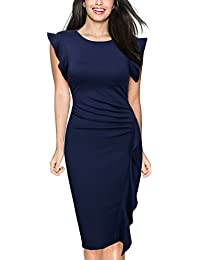Miusol Damen Elegant Sommer Kleid V-Ausschnitt Kurzarm Vintage Knielang Cocktailkleider Lila Gr.S-3XL