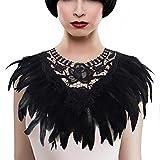 KELAND Femmes Soutien Gorge en Plume Harnais de Crop Top Dentelle Collier Accessoires Danse Halloween (Noir)