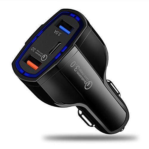 Lovearn Auto Ladegerät,Schnelles Autoladegerät Quick Charge Dual 2 USB QC 3.0-Anschluss, kompatibel mit iPhone XS/XS Max/XR/X / 8/8 Plus / 7/7 Plus/Galaxy S9 / S9 Plus und Mehr (Schwarz) Bluetooth Cell Adapter