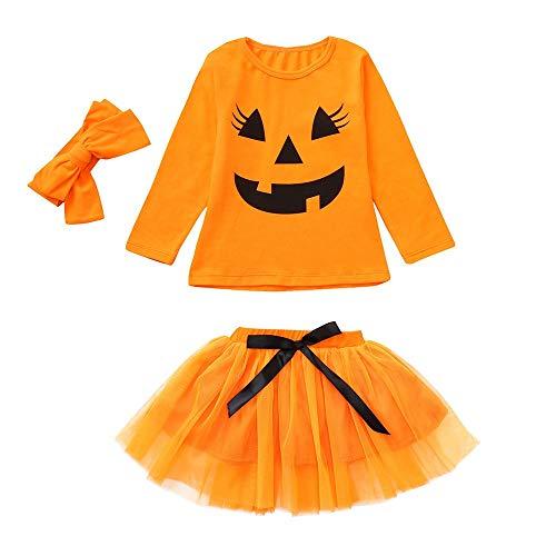 Kinderbekleidung,Honestyi Kleinkind Baby Kürbis Karikatur Druck lange Hülsen Oberseiten + Bogen Rock Ausrüstungs Set (90,Orange)