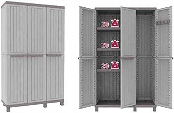 Kreher 3 - Türen XXL Schrank mit höhenverstellbaren Einlegeböden und Praktischem Spind. Aus Kunststoff in Hellem Taupé Farbton. Maße BxTxH in cm: 102x39x170 cm