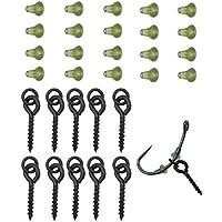 NEWSHOT 10 tornillos de cebo de pesca y 20 topes de gancho, para cebo boilie de carpa con bucle de enlace terminales accesorios (verde)