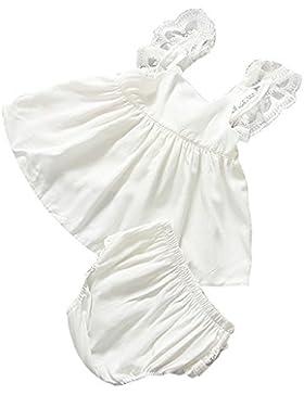 Vestido de niñas, FAMILIZO 1 Conjunto Vestido + PantalóN Bebé Niña Ropa Infantil Verano Vestidos De Traje Backless...