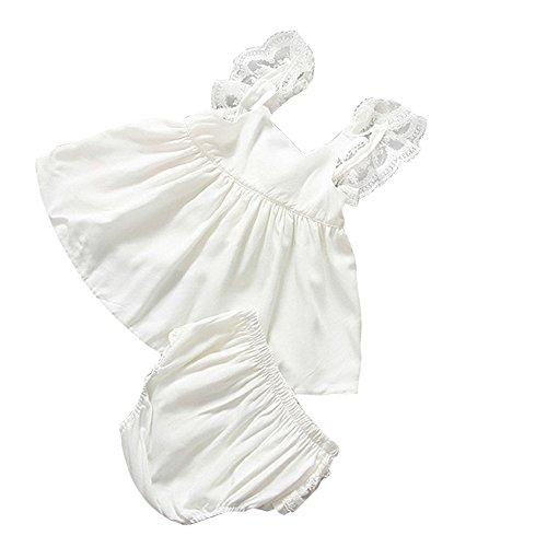 FAMILIZO 1 Conjunto Vestido + PantalóN Bebé Niña Ropa Infantil Verano Vestidos De Traje Backless BañAdor (70, Blanco)