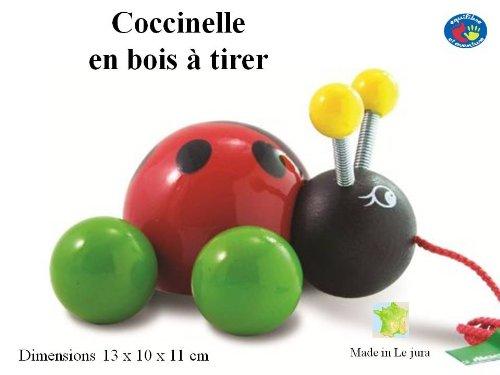 Coccinelle en bois à tirer - dès 1 an - artisanat Français - finition superbe
