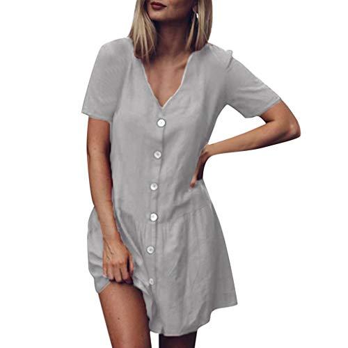 routinfly Damen Kleid Partykleid Cocktailkleid,Einfarbiges Kleid aus Baumwolle und Leinen mit kurzärmeligem Knopf und V-Ausschnitt und Rüschensaum Rüschen-Minikleid S-3XL -