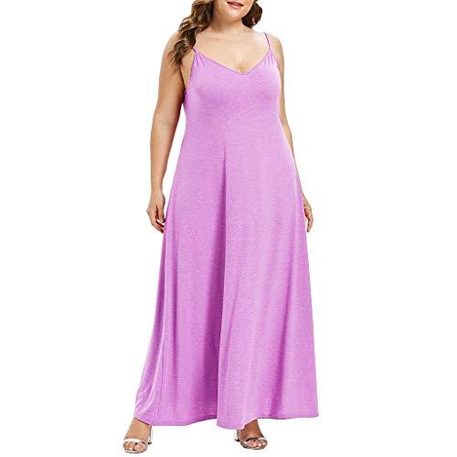 VEMOW Plus Size Elegante Damen Frauen Casual Kurzarm Kalt Schulter Boho Blumendruck Casual Täglichen Party Strand Langes Kleid Schulterfrei Strandkleid(Z1-Rosa, EU-52/CN-4XL)
