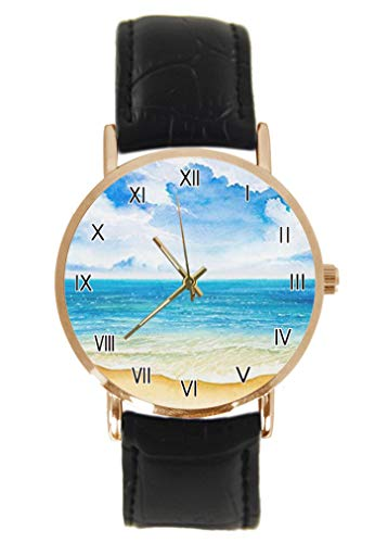 Abstrakte Aquarell-Sommer-Armbanduhr mit Segelboot- und Palmenbaum-Armband, Unisex, analoges Quarz, Edelstahlgehäuse, Lederarmband -