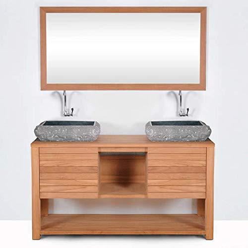 Mueble de baño montado lavabo doble 140cm JAVA de madera maciza