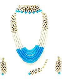 APSARA The Shining Diva Traditional Kundan Necklace Set With Sky Blue & White Pearl Multi Layer Designer Gold...