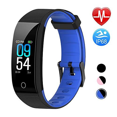 TwobeFit Pulsera Actividad, Pulsera Inteligente Pantalla Color HR con Pulsómetro Pulsera Deportiva y Monitor de Sueño de Actividad para Mujer Hombre Reloj Fitness Podómetro (Blue)