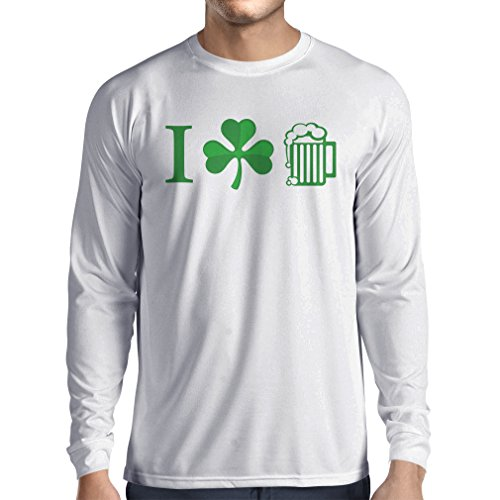 Breakfast Kostüm Club (T-Shirt mit langen Ärmeln The Symbols of St. Patrick's Day - Irish Icons (XX-Large Weiß)