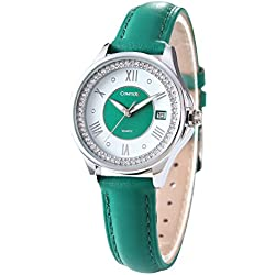 Comtex Women's Watches Quartz Analogue with Green Leather Calendar Display Ladies Wrist Watches